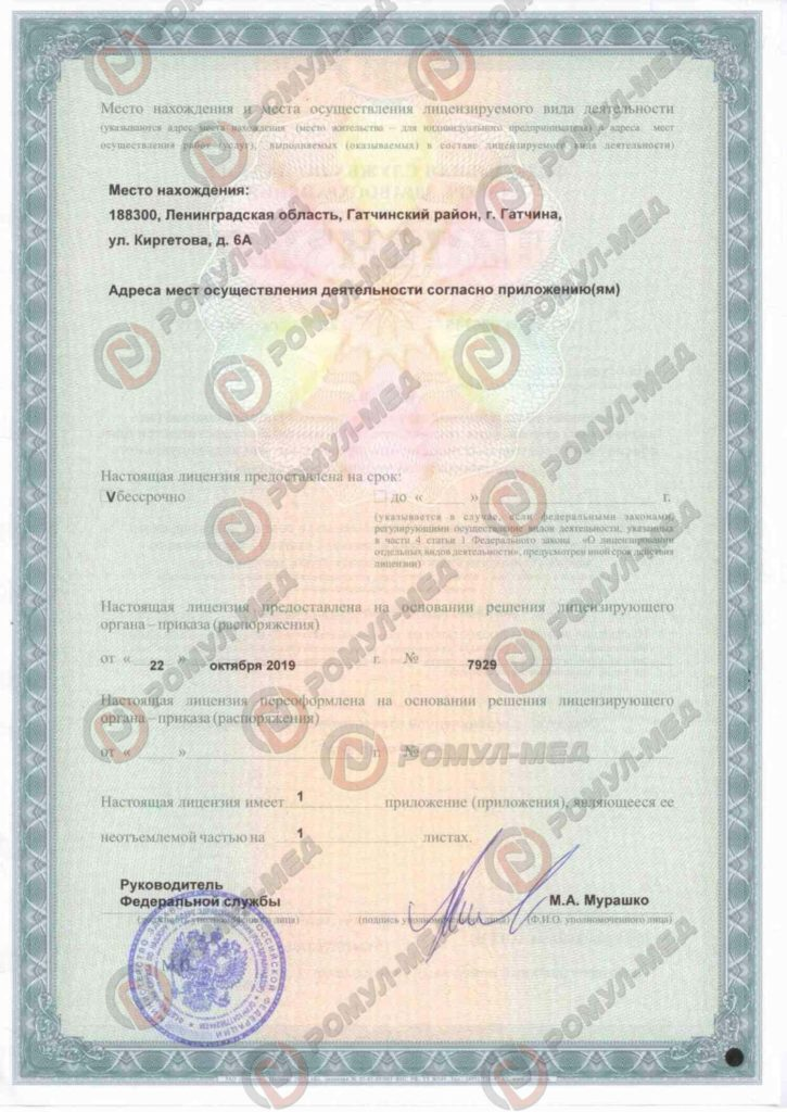 Лицензия Ромул-мед 2
